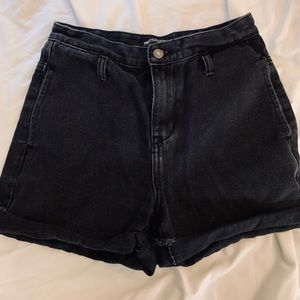 PrettyLittleThing black high waisted jean shorts